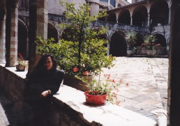 IMG_0152 - the courtyard of the Monastery of St Francis in Venice, during the World Conferenc eon Religion and Peace meeting, 1992, with Prof Julie Peters